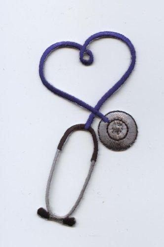 Blue Medical Heart Stethoscope Iron on Embroidered Applique Patch