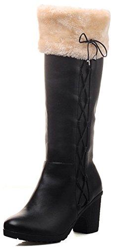 IDIFU Womens Sweet Mid Block Heel Round Toe Pull On Fluffy Fur Knee High Booties Black bAXf8j3q