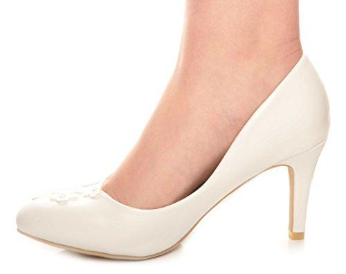 Balnquecino Otros Cueros Encaje y Diamantes Mediatos de Talon Zapatos de la Boda Talones de Novia