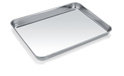 Small Baking Sheets, HKJ Chef Baking Pans & Stainless Steel Cookie Sheets & Mini Toaster Oven Tray Pans & Non Toxic & Healthy,Superior Mirror & Easy Clean by HKJ Chef