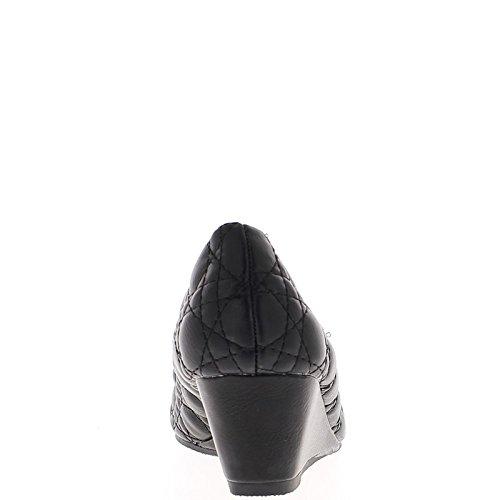Femme Dégagée Pompes Noir Talon 5cm