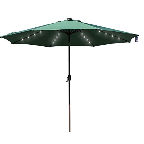 - Sundale Outdoor 11FT 40 LED Lights Aluminum Patio Market Umbrella with Hand Push Tilt and Crank, Garden Pool Solar Powered Lighted Parasol, 8 Ribs, Dark Green