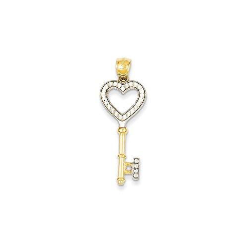 Gold Heart Key Pendant (Roy Rose Jewelry 14K Yellow Gold & Rhodium Heart Key Pendant)