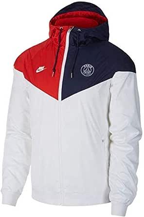 Nike herr PSG M NSW WR WVN AUT CL sportjacka, vit/midnatt marinblå/university röd/vit