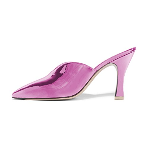 Gorgeous Shoes Slip Sandals Party Heeled Toe Pointy Women 4 15 US High Pumps Size On Mule FSJ Patent Violet Ofw4pq5f