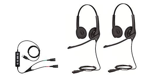 Jabra Soft Phone/PC USB Training Supervisory Bundle with Two (2) Jabra Biz 1500 Duo QD Headsets and USB training Cable