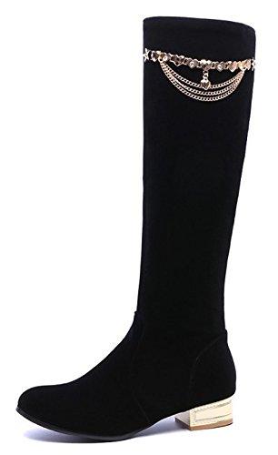 Aisun Femmes Chaînes De Mode En Métal Bout Rond Habillé Pull Chunky Bas Talon Genou Bottes Hautes Chaussures Noir