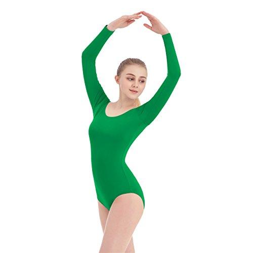 Women's Scoop Neck Lycra Spandex Long Sleeve Leotard (X-Small, Green)]()