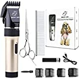 Dog Clippers Cat Shaver, Professional Hair Grooming Electric Clipper Detachable Blades Cordless Rechargeable, Pet Clipper for