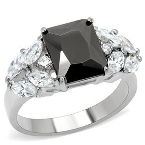 Stainless Steel Radiant Cut Jet Black Cubic Zirconia Ring SZ 6 (Ring Butterfly Embellished)