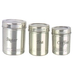 Stainless Steel Dabba Set of 3 for Storing Tea, Coffee and Sugar by EastWest (Image #1)'