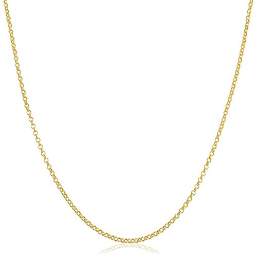 Kooljewelry Solid 14k Yellow Gold 1.1 mm Rolo Chain Necklace (24 inch)