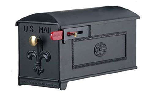 Imperial Mailbox - Luxury Mailbox | Parcel Post Mount Mailbox | Home Mailbox | Includes Brass knob, red Flag and Hardware | Decorative USPS Approved Mailbox | Rural and Decorative | GSI Large Mailbox Black