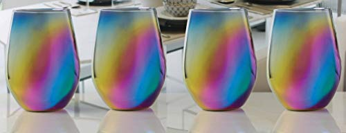 Circleware Rainbow Fusion Stemless Wine with Luster Rainbow Color Drinking Glasses, Set of 4, Entertainment Glassware for Water, Juice, Beer Bar Liquor Dining Decor Beverage Cups Gifts, 18.5 oz