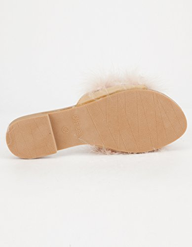 Sandali Cape Robbin-1 Donna Infradito In Pelliccia Scivola Slip On Flats Sandali Scarpe Pantofole Mule Nude