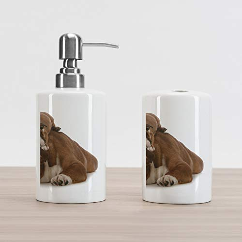 Ambesonne English Bulldog Soap Dispenser and Toothbrush Holder Set, Father and Son Bulldogs Fathers Day Photograph Domestic Pet Animals, Ceramic Bathroom Accessories, 4.5