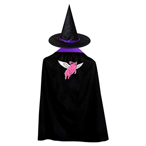 (Flying Pig Kids' Witch Cape With Hat Cute Vampire Cloak For Halloween Cosplay)
