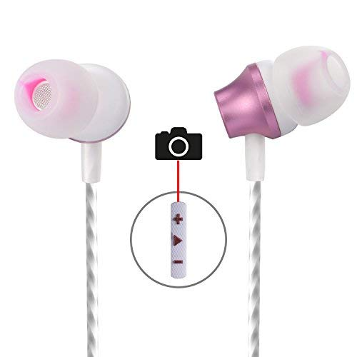 in Ear Earbuds,Aictoe Wired Earphones with Selfie,Super Stereo Bass Headphones Noise Isolating Headsets with Built-in Mic and Volume Control Universal for 3.5mm Android iOS (Rose Gold)