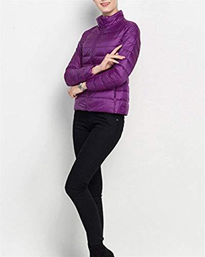 Giacca Puro Manica Moda Trapuntata Fit Colore Con Lunga Slim Outerwear Di Casual Invernali Darkpurple Donna Grazioso Piumino Stlie Autunno Cerniera wg0PqXq