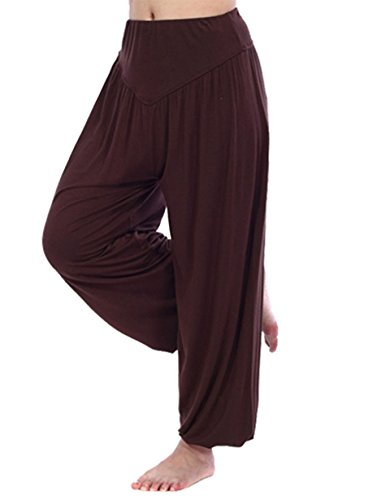 HOEREV Super Soft Modal Spandex Harem Yoga/ Pilates Pants Brown XS by HOEREV