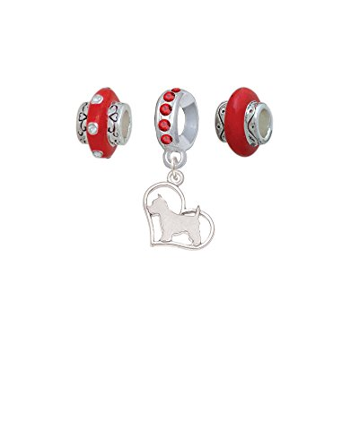 (Silvertone Westie Silhouette Heart Red Charm Beads (Set of 3))