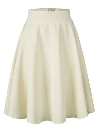 PERSUN Women's High Waisted A Line Chiffon Midi Skirt,Cream,Medium