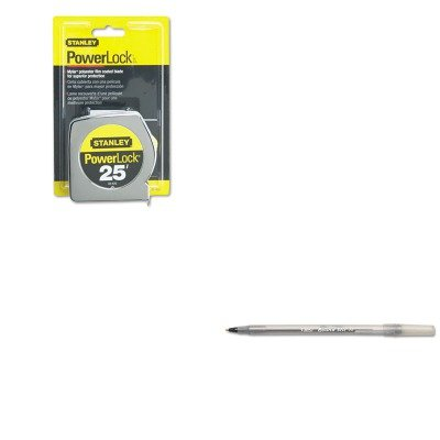 KITBICGSM11BKBOS33425 - Value Kit - Powerlock II Power Return Rule, 1quot; x 25 ft., Chrome/Yellow (BOS33425) and BIC Round Stic Ballpoint Stick Pen ()
