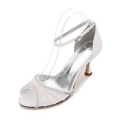 Las Mujeres'S Wedding Shoes Confort Satin Primavera Verano Boda Vestido De Noche &Amp; Rhinestone Bowknot Champán Heelivory Plana Rubí Azul US10.5 / EU42 / UK8.5 / CN43