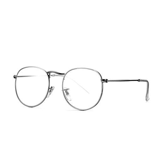 Metal Eyeglasses (AZORB Round Clear Lens Glasses Circle Non-prescription Eyeglasses Metal Frame (Silver, 50))