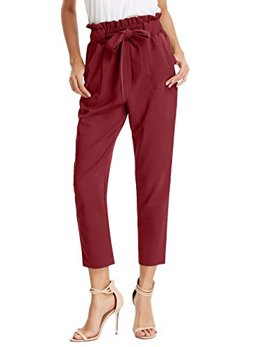 GRACE KARIN Women's Pants Trouser Slim Casual Cropped Paper Bag Waist Pants S Wine