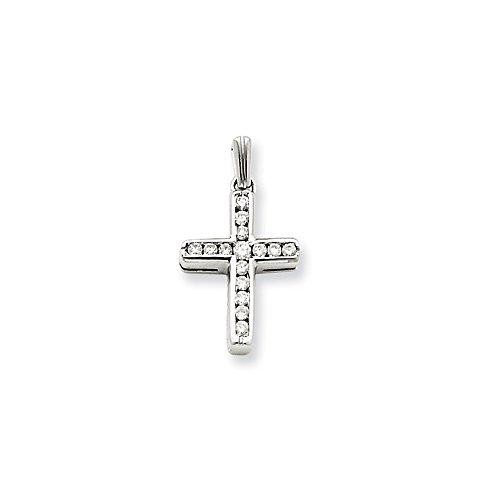14k White Gold Diamond Small Latin Cross Pendant by Nina's Jewelry Box