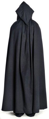 Algodón estructura lino con Gran de con capa Negro color Medieval hemad capucha marrón negro beige 1ZCXXx