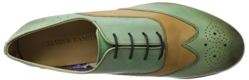 Melvin&Hamilton Sally 2 - Zapatos Derby Mujer Mehrfarbig (Salerno Sweet Green(1,3),Sand(2) LS-Nat)