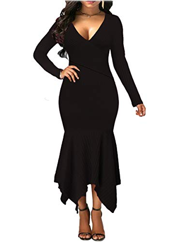 d2c530c0784 Uotige Womens Long Sleeve Stretchable Elasticity Slim Fit Sweater Dress  Surplice Wrap Bodycon Knit Maxi Dress