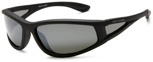 Body Glove QBG1103 Polarized Sport Sunglasses,Matte Black Rubberized Frame/Smoke with Silver Mirror Flash Lens,one size