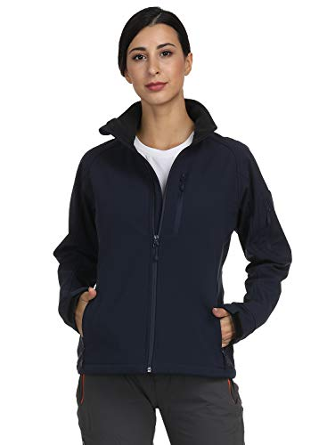 MIER Women's Windproof Softshell Jacket Front Zip Tactical Jacket with Fleece Lined, Water Resistant, YKK Zipper, Navy Blue, L - Inner Soft Shell