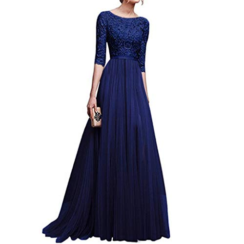 - Sttech1 Women Retro Evening Long Dress, Vintage Floral Lace 3/4 Sleeves Floor Length Cocktail Formal Bridesmaid Prom Gown Long Maxi Dress (S, Blue)