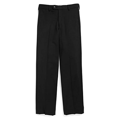 new Tallia Boy's 4-22 Wool Blend Flat Front Dress Pant - Regular & Husky Sizes (6 Regular, Black)