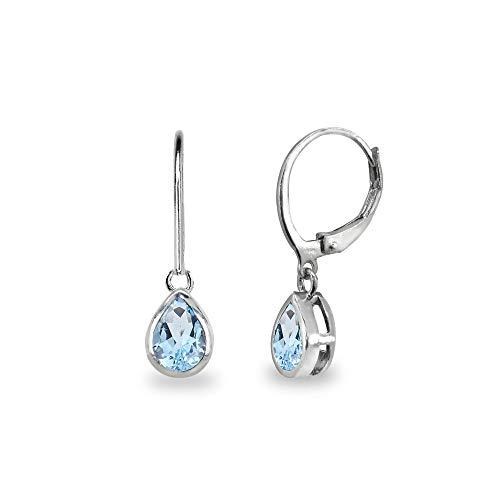 - Sterling Silver Blue Topaz 7x5mm Teardrop Bezel-Set Dainty Dangle Leverback Earrings for Women, Teen Girls