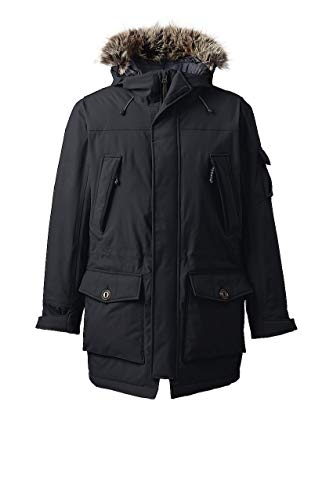 Lands' End Men's Expedition Parka, M, Black Faux Fur