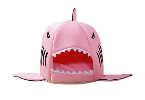 Freerun Pink Shark Pet House with Removable Cushion Mat for Dogs and Cats Lovely Pet Bed - M