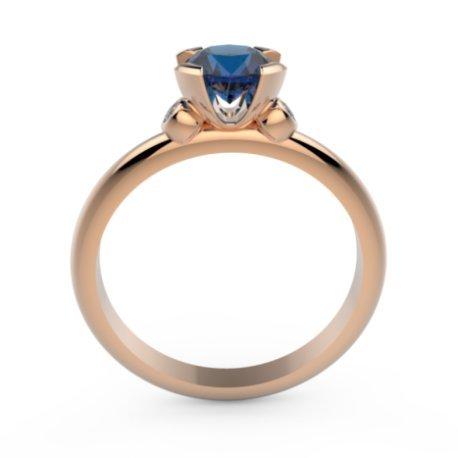 CHALVA Bagues Or Rose 18 carats Saphir Bleu 0,6 Rond