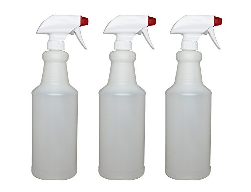 Pinnacle Mercantile Plastic Spray Bottles Leak Proof Technology Empty 32 oz Pack of 3 Made in USA