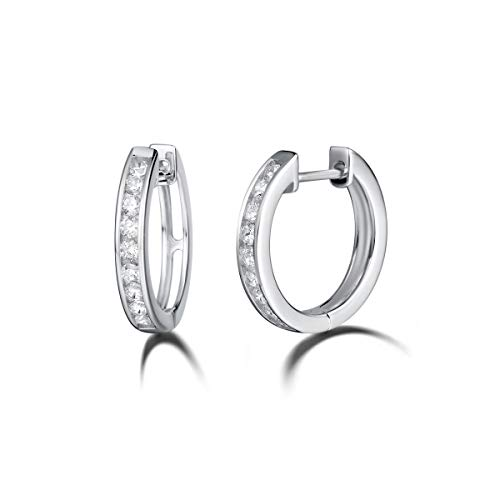 (Carleen 925 Sterling Silver Channel Setting Round Cut Cubic Zirconia CZ Simulated Diamond Hinged Hoop Earrings for Women Girls, 18mm (White))