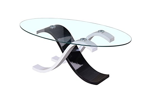 """Price comparison product image CT1 - Oval 47"""" Glass Cocktail Table"""