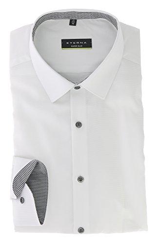 ETERNA Super Slim Langarmhemd Businesshemd aus Baumwolle Hemd Gr. 38 Weiss Strukturiert - Bügelfrei