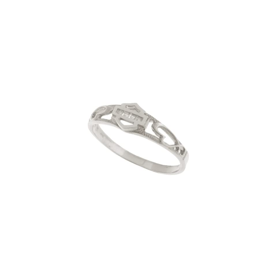 Harley Davidson® Stamper® Women's 10K White Gold Diamond Ring (.04 cttw), Sculpted Hearts. WR7383D Stamper® Jewelry
