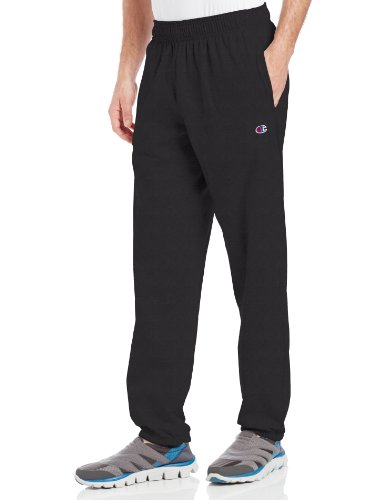 Champion Men's Closed Bottom Light Weight Jersey Sweatpant, Black, (Black Sweatpants)