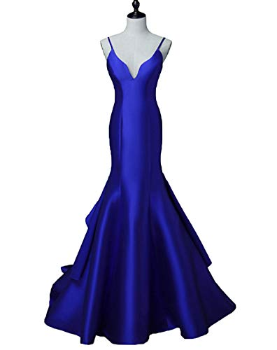 Scarisee Women's Spaghetti Straos Mermaid Trumpet Prom Evening DressesFormal Celebrity Party Gowns Sweep Train Royal Blue 06