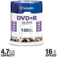 Verbatim Life Series DVD+R Spindle, Pack Of 100